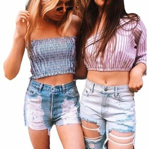 LF Furst of a Kind ★ Upcycled Vintage Levi's® ★ Lace Cut Off Denim Jeans Shorts